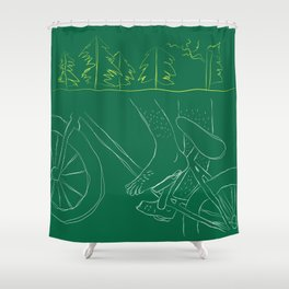Bicycle Feet (Green) Shower Curtain