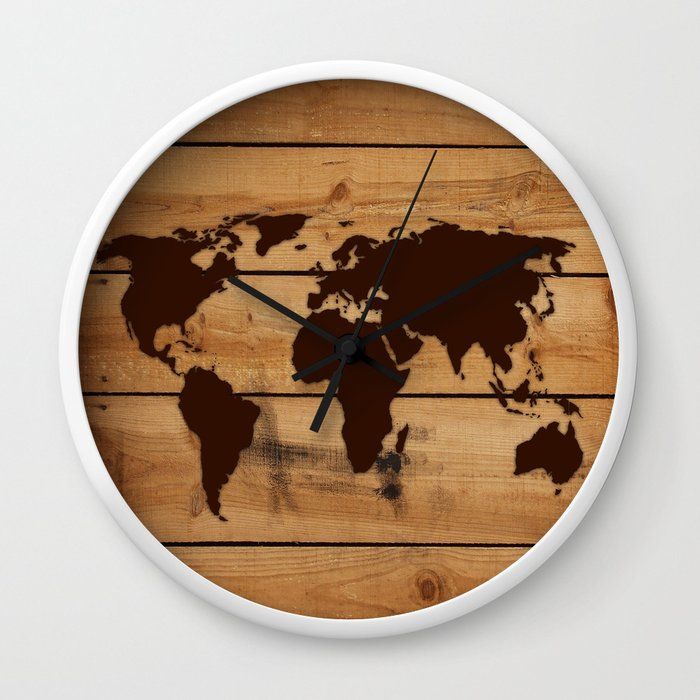 Map world wood wall clock by markashkenazi society6 gumiabroncs Image collections