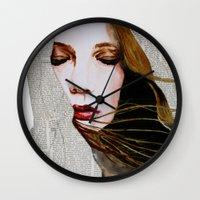 literary Wall Clocks featuring Literary Girl by Charlotte Massey