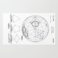 bucky Area & Throw Rugs featuring Buckminster Fuller 1961 Geodesic Structures Patent by Elegant Chaos Gallery