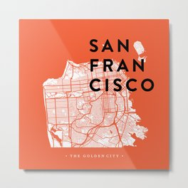 San Francisco Map 04 Metal Print