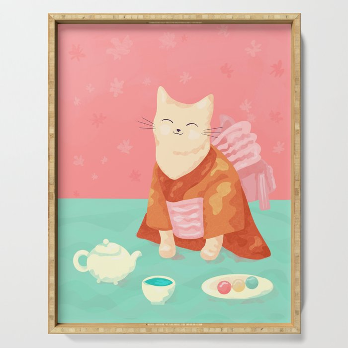 Cute Cat in a Kimono Drinking Matcha Tea and Eating Dango Serving Tray