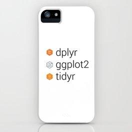 Tidyverse libraries: dplyr, ggplot2, tidyr iPhone Case