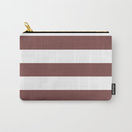Tuscan red - solid color - white stripes pattern Carry-All Pouch