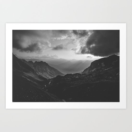 Valley - black and white landscape photography Art Print