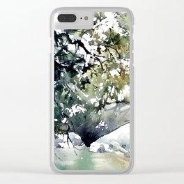 Running water down below in the dark, frozen forest Clear iPhone Case