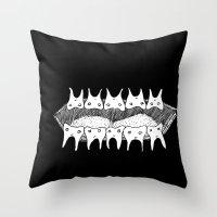 teeth Throw Pillows featuring Teeth by Addison Karl