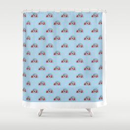 Christmas foxes in love Shower Curtain