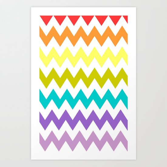 Rainbow Chevron Art Print