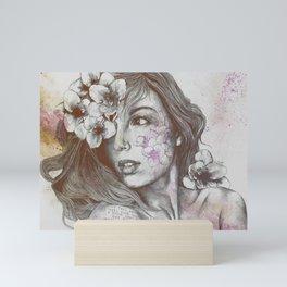 Mascara: Violet (freesia tattoo lady portrait) Mini Art Print