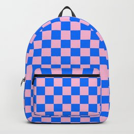 Cotton Candy Pink and Brandeis Blue Checkerboard Backpack