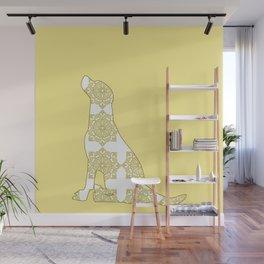 Yellow Damask Labrador Retriever Dog Wall Mural