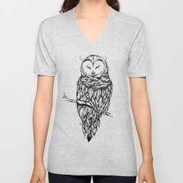 Poetic Snow Owl Unisex V-Neck