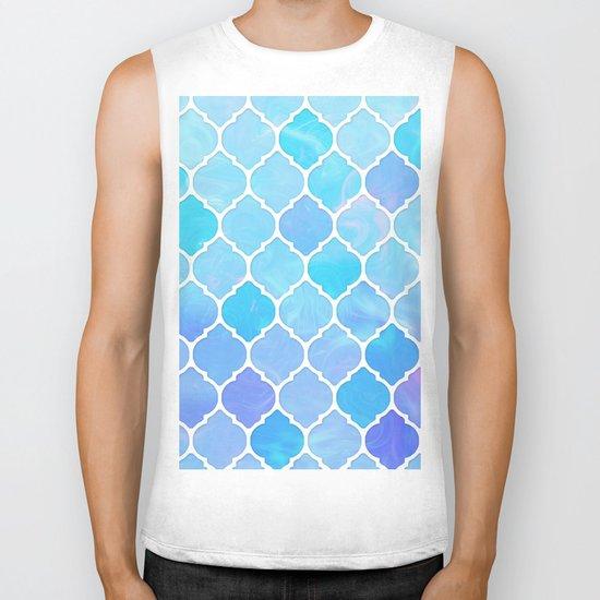 Blue and purple glass Moroccan print Biker Tank