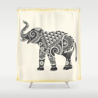 ornate elephant Shower Curtains featuring Elephant by famenxt