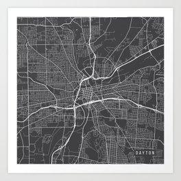 Dayton Map, USA - Gray Art Print