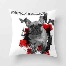 French Bulldog Chinese Painting Style Throw Pillow