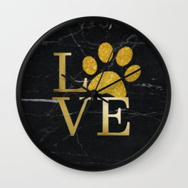 Love is a Four Letter Word - Black and Gold Wall Clock