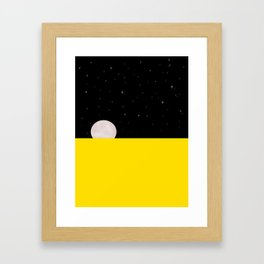 Black night with stars, moon, and yellow sea Framed Art Print