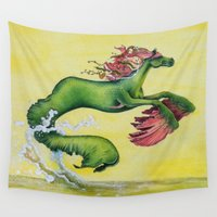 sea horse Wall Tapestries featuring Hippocampus Sea Horse by Wyld Horses Art