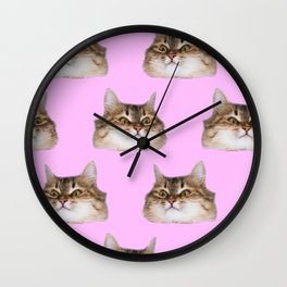 Funny cat's  heads on pink Wall Clock