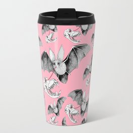 Skull Bat Pink Travel Mug