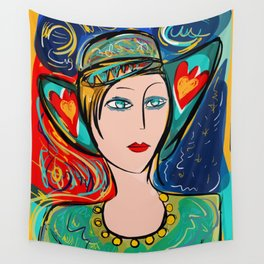 Pop Girl Art Deco with Hat and hearts Wall Tapestry