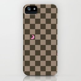 Brown Check with Light Pink Crescent Moons iPhone Case