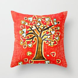 Watercolor Love Tree Throw Pillow