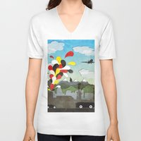 chile V-neck T-shirts featuring Centro de Chile by i am nito