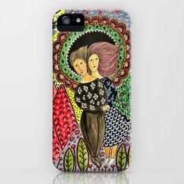 Man and woman illustratiom iPhone Case
