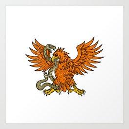 Golden Eagle Grappling Rattlesnake Drawing Art Print