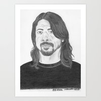 dave grohl Art Prints featuring Dave Grohl , Portrait Art by N_T_STEELART