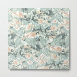 Marble Mist Green Peach Metal Print