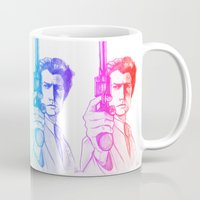 clint eastwood Mugs featuring Harry Callahan - Clint Eastwood by Martina Marzullo Art