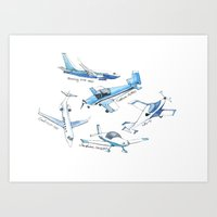 airplane Art Prints featuring airplane by Goga Alexandra