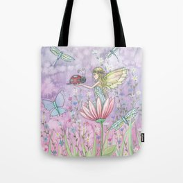 A Friendly Encounter Fairy and Ladybug Art by Molly Harrison Tote Bag
