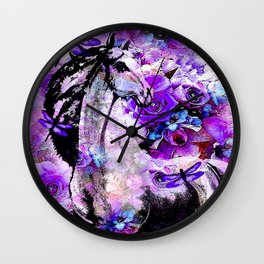 HORSE ROSES DRAGONFLY IMPRESSIONS Wall Clock