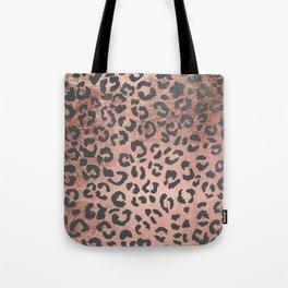 Modern charcoal grey rose gold leopard pattern Tote Bag