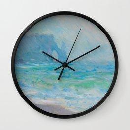 Claude Monet Impressionist Landscape Oil Painting Regnvær, Etretat Wall Clock