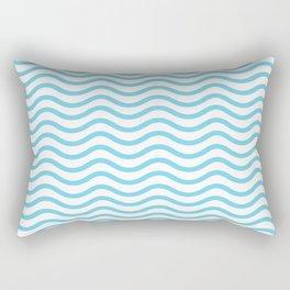 Light Blue Wavy Lines Pattern Rectangular Pillow