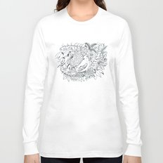 Sketched bird and flowers Long Sleeve T-shirt