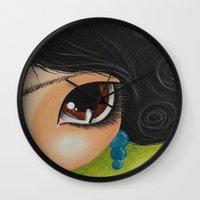 frida kahlo Wall Clocks featuring Frida Kahlo by Megan K. Suarez