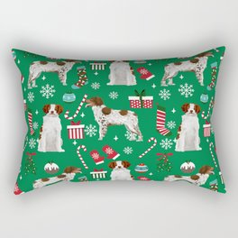 Brittany Spaniel christmas pattern dog breed presents stockings candy canes Rectangular Pillow