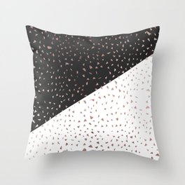 Speckled Rose Gold Flakes on Black White Geometric Throw Pillow