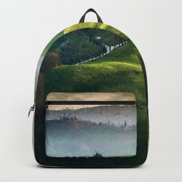 Rolling Green Hills and Wine Vineyards of Tuscany, Italy landscape painting Backpack