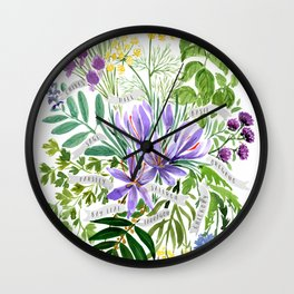Watercolor culinary herbs Wall Clock