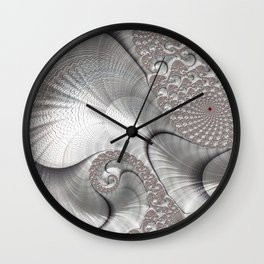Almost Silver Fractal Art Wall Clock