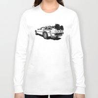 delorean Long Sleeve T-shirts featuring DeLorean / BW by CranioDsgn