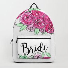 Bride Wedding Pink Roses Watercolor Backpack